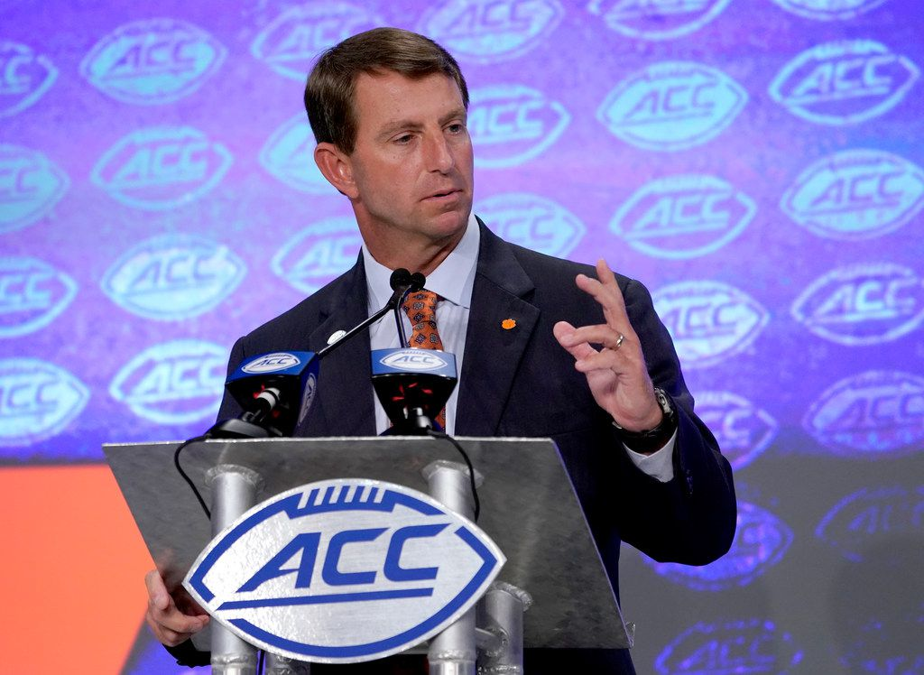 Clemson head coach Dabo Swinney defended his decision not to award a national championship ring to former quarterback Kelly Bryant.. (AP Photo/Chuck Burton)