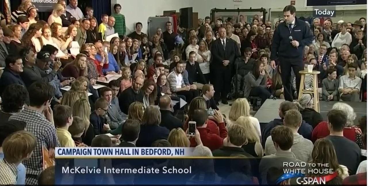 Suprun's son, Hank, questions GOP presidential candidate Marco Rubio at a New Hampshire event.