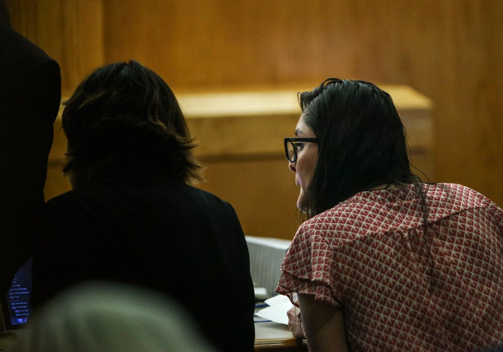 Brenda Delgado (right) speaks to an attorney during her murder trial in the 363rd Judicial District Court at the Frank Crowley Courthouse in Dallas, Wednesday, June 5, 2019. Delgado is accused of hiring Crystal Cortes and Kristopher Love to kill Kendra Hatcher, an Uptown dentist.
