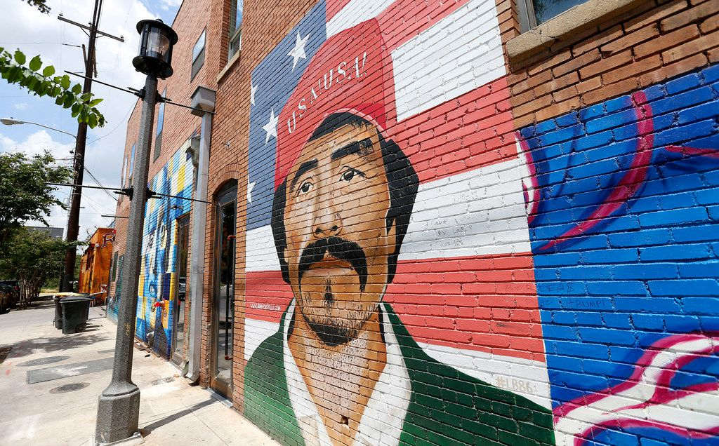 A mural is seen on the building of Deep Ellum Hostel in Dallas, Thursday, July 12, 2018. (Jae S. Lee/The Dallas Morning News)