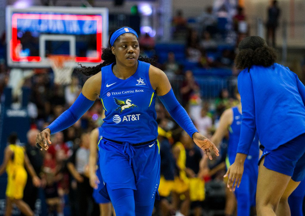 Dallas Wings guard Arike Ogunbowale (24) walks off the court at halftime of a WNBA game between the Dallas Wings and the Indiana Fever on Friday, July 5, 2019 at UTA's College Park Center in Arlington. (Ashley Landis/The Dallas Morning News)