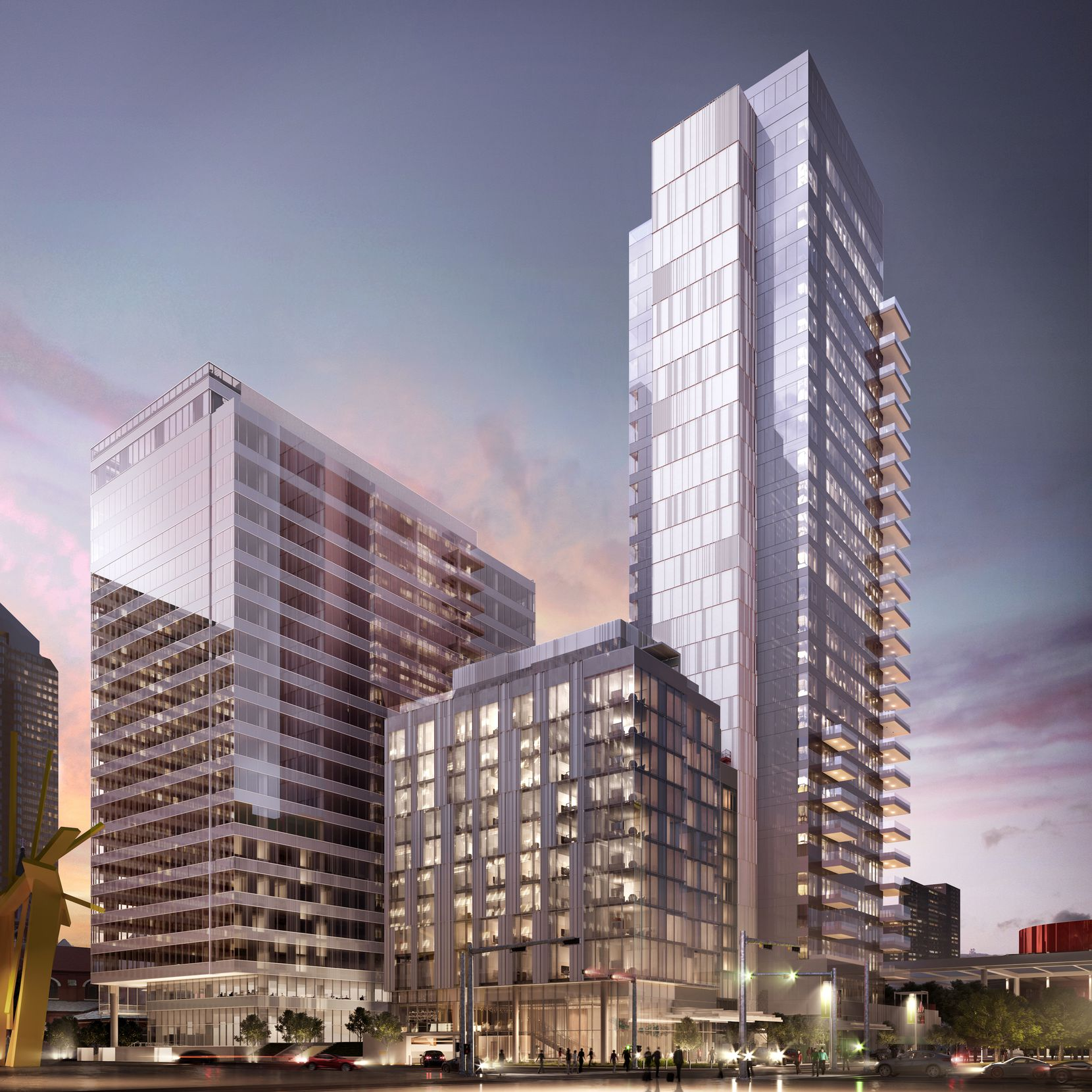 The Hall Arts Hotel and an adjoining condo tower are under construction at Ross Avenue and Leonard Street downtown.