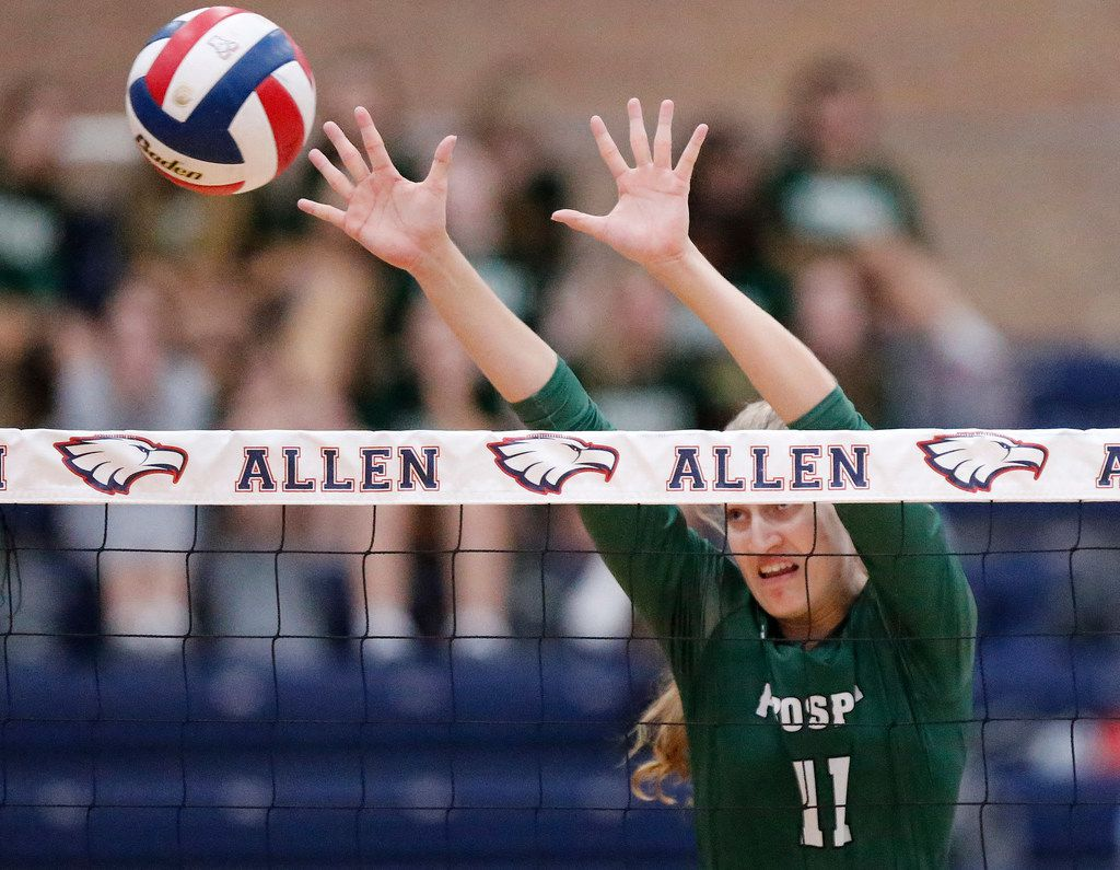 Prosper High School middle blocker Shaylee Shore (11) attempts a block during game three as Allen High School hosted Prosper High School in a District 9-6A volleyball match in Allen on Tuesday, October 1, 2019. (Stewart F. House/Special Contributor)