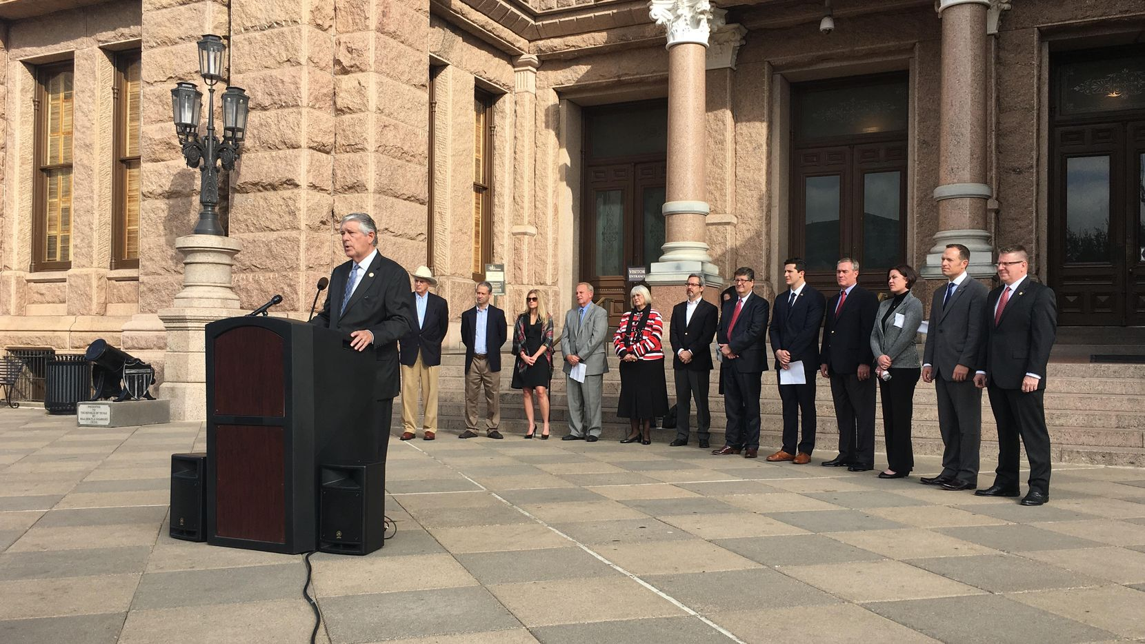 State Rep. Paul Workman, R-Austin, speaks at a news conference Tuesday morning where he announced plans to file a bill that would prohibit local laws preventing private companies from asking about job applicants' criminal history. (Madlin Mekelburg/The Dallas Morning News