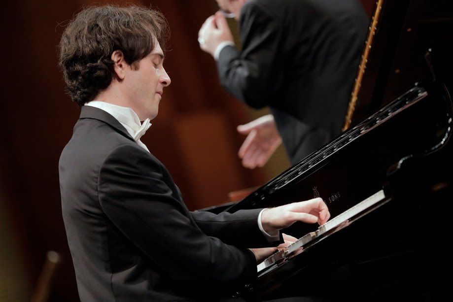 Leonardo Pierdomenico performed with conductor Nicholas McGegan and the Fort Worth Symphony Orchestra in the Semifinal Round of the Van Cliburn International Piano Competition on Saturday at Bass Performance Hall in Fort Worth. (Ralph Lauer/Van Cliburn Foundation)