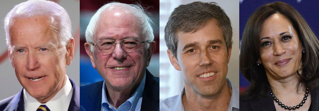 Based on current polling, the top four contenders for the Democratic presidential nomination in 2020 are Joe Biden, Bernie Sanders, Beto O'Rourke and Kamala Harris.