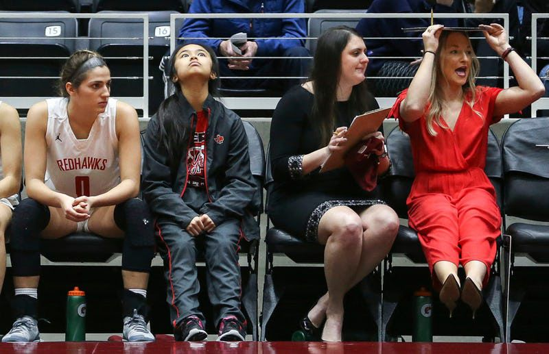 The Frisco Liberty bench reacts to a play during the second half of a girls basketball Class 5A Region II semifinal between Frisco Liberty and North Forney on Friday, Feb. 22, 2019 at the Curtis Culwell Center in Garland, Texas. Frisco Liberty beat North Forney 39-25. (Ryan Michalesko/The Dallas Morning News)