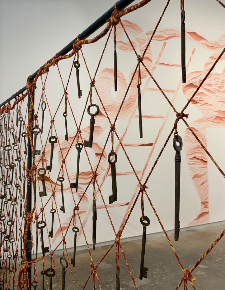 Installation detail at the exhibition Watchtowers, Keys, Threads, Gates at Dallas Contemporary\
