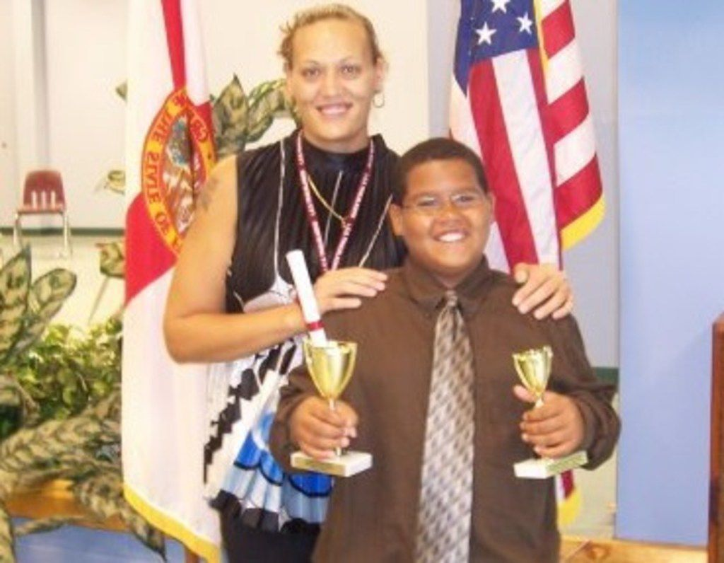 Cowboys rookie defensive tackle Trysten Hill with his mother, Farrah Hill, in 2009.