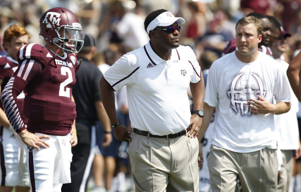 Texas A&M Aggies quarterback Johnny Manziel (2) head coach Kevin Sumlin and QB coach Jake Spavital during their NCAA football game at Kyle Field in College Station , Texas, on August 31, 2013. (Michael Ainsworth/The Dallas Morning News)