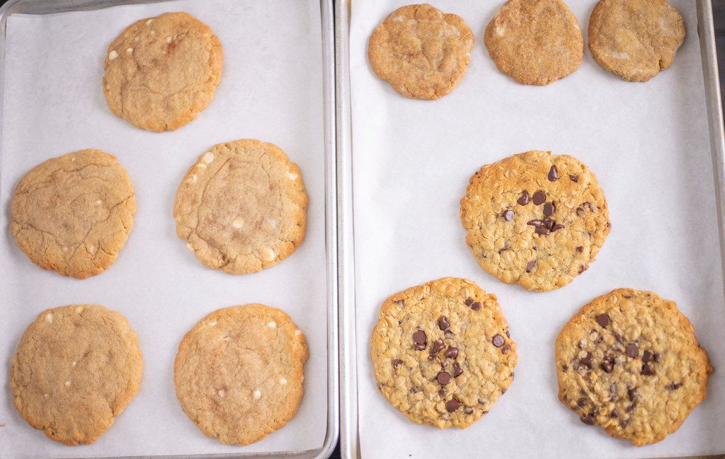 White chocolate snickerdoodles, oatmeal chocolate chip cookies and more are made by Cookie Crave owner Veronica Powell at The Cookline in Plano.