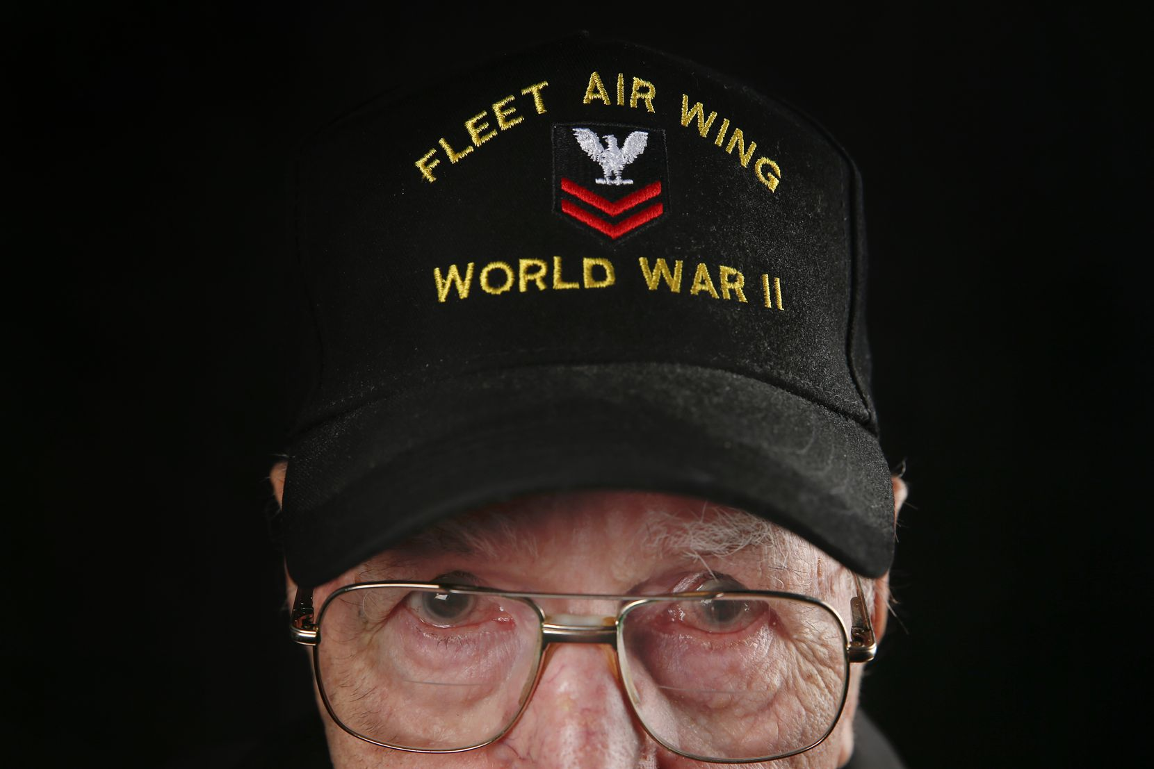 James Kenneth Fling, 97, of Gun Barrel City, Texas, a colonel who served in the World War II AM2/C Fleet Air Wing, is photographed during the Wings Over Dallas Airshow on Saturday, Oct. 26, 2019 in Dallas.
