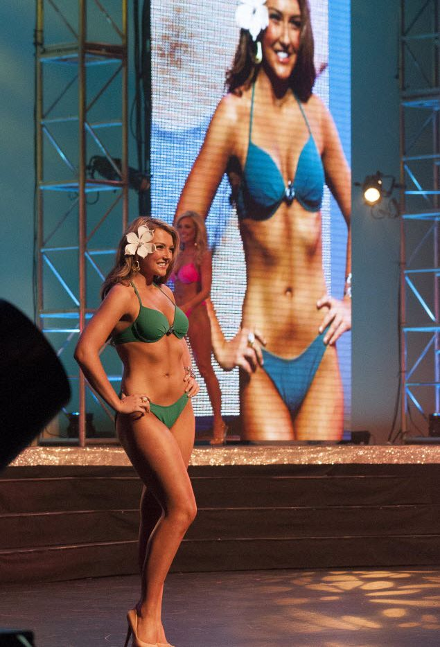 In this 2015 file photo, Miss San Antonio Emma Rudkin competes in the swimsuit portion of the 2015 Miss Texas Scholarship Pageant at the Charles W. Eisemann Center for Performing Arts in Richardson. (DMN File)