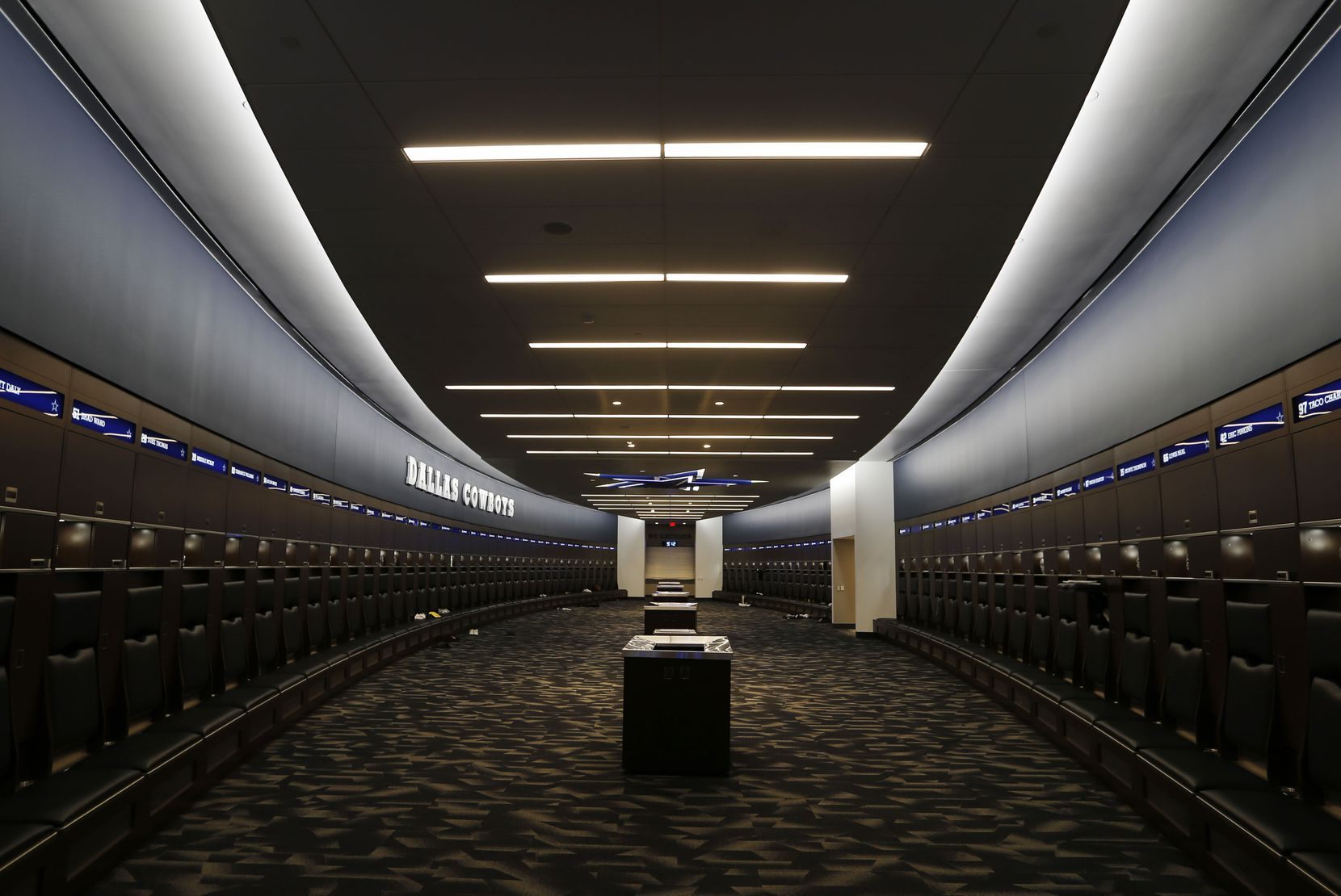 The Dallas Cowboys locker room inside the Dallas Cowboys headquarters at The Star in Frisco on July 17, 2018.