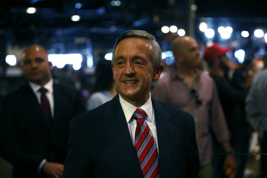 Pastor of First Baptist Church Robert Jeffress walks through the crowd before the Donald Trump campaign rally at Gilley's Dallas in Dallas, TX Thursday June 16, 2016.  (Nathan Hunsinger/The Dallas Morning News)