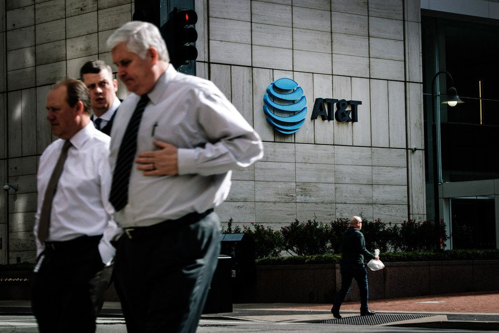AT&TÕs headquarters in downtown Dallas, Nov. 21, 2017. The Justice DepartmentÕs move to block AT&TÕs takeover of Time Warner and the FCCÕs plans to dismantle net neutrality rules represent two starkly different conclusions separate arms of the Trump administration have reached regarding the concentration of corporate power. (Brandon Thibodeaux/The New York Times)