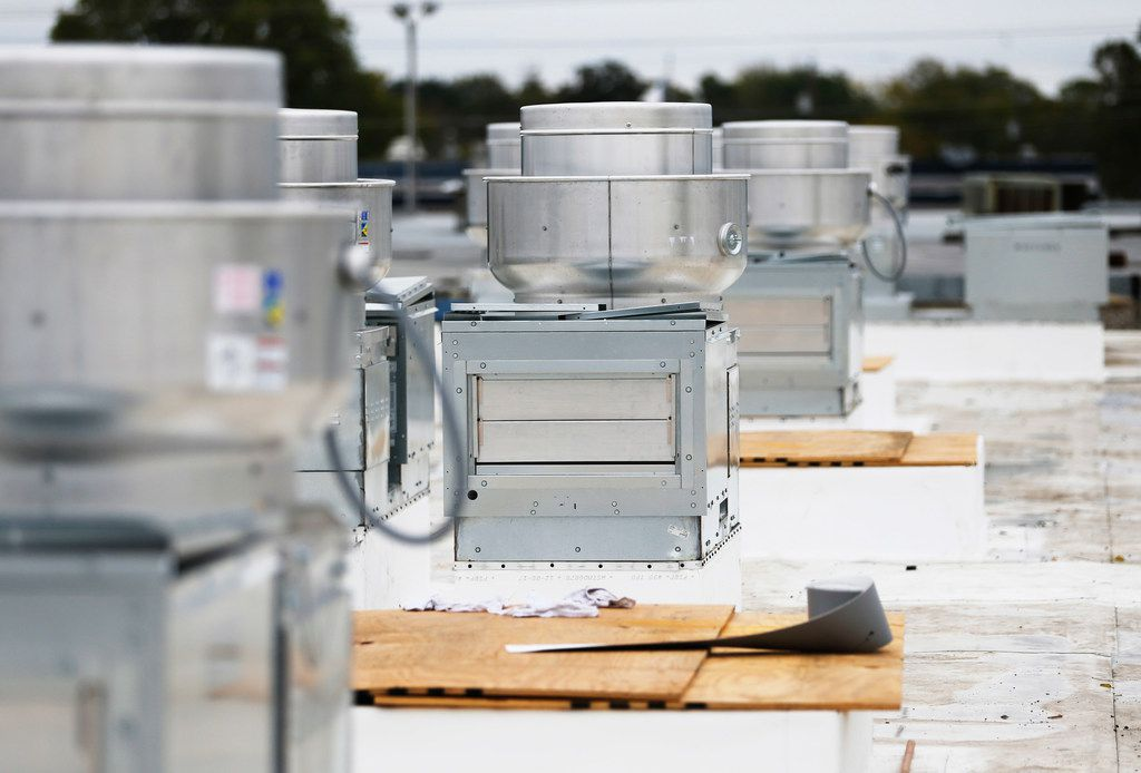 Exhaust and supply fans for the multiple kitchens on the rooftop of the Revolving Kitchen in Garland.