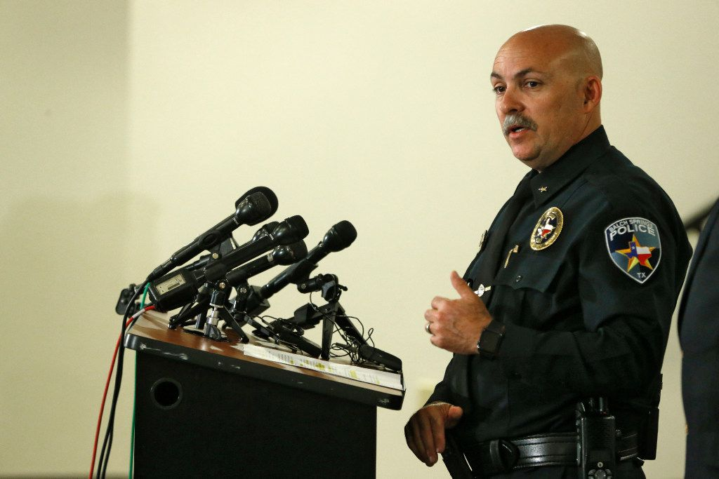 Balch Springs Police Chief Jonathan Haber speaks during a press conference after an officer involved shooting of Jordan Edwards, at the Balch Springs Learning Center and Library in Balch Springs, Texas on May 1, 2017. (Nathan Hunsinger/The Dallas Morning News)