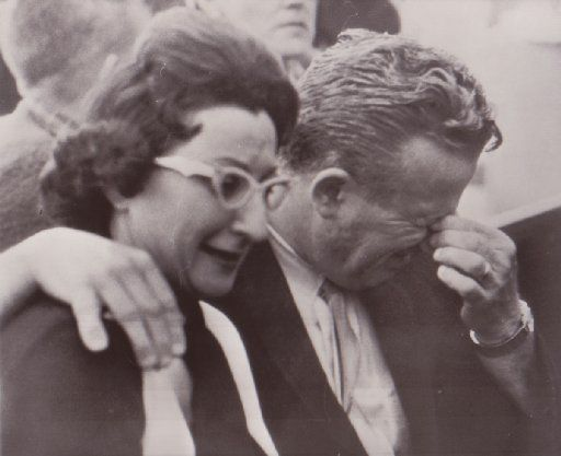 Mrs. Eileen Kaminsky of Detroit and her brother Earl Ruby weep in a Dallas courtroom today after hearing the verdict that their brother, Jack Ruby, was found guilty of the murder of Lee Harvey Oswald and sentenced to die in the electric chair.