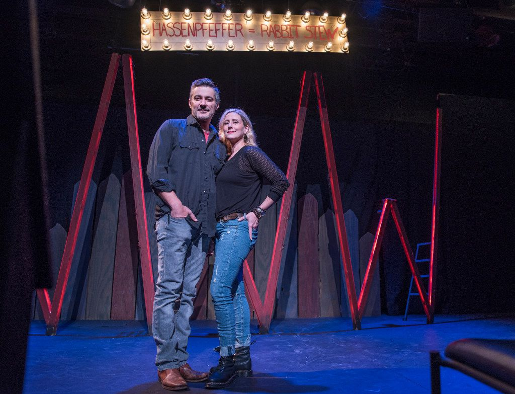 Jeffrey Schmidt, left, and Lydia Mackay, the co-founders of The Drama Club on the stage of the Ken Bryant Theater.