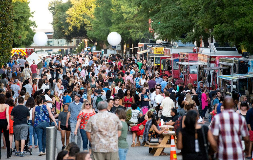 Last summer, residents turned out for a block party in the Dallas Arts District, an example of the new energy in the downtown area. (Jeffrey McWhorter/Special Contributor)