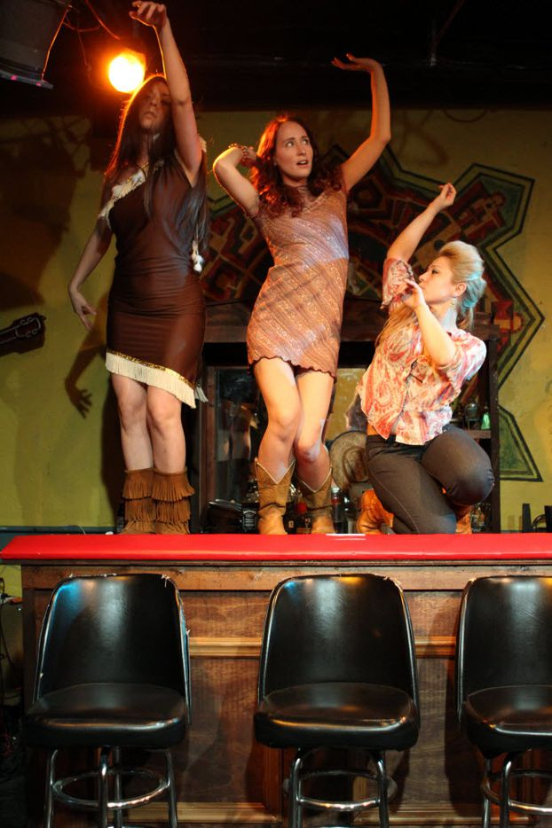 """The Ochre House Theater presents the world premiere of Matthew Posey's """"Mean"""", Friday, February 17, 2012. The cast includes Elizabeth Evans, left, Anastasia Munoz, middle, and Delilah Buitron, right."""
