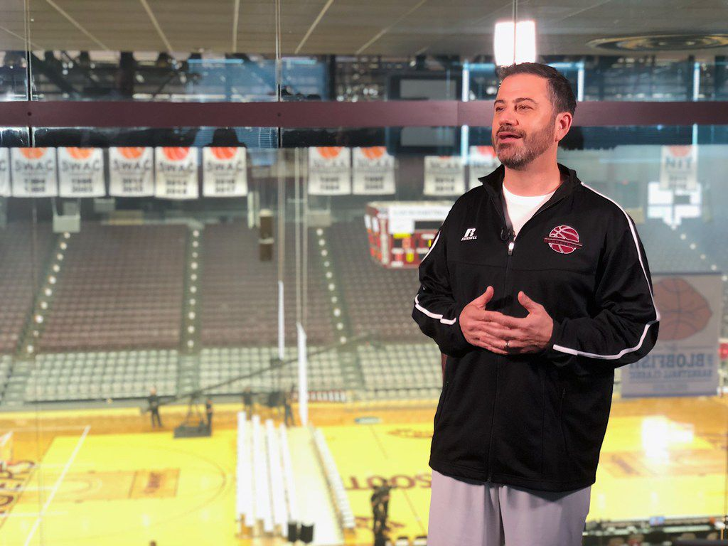 Jimmy Kimmel speaks with reporters before facing Texas Sen. Ted Cruz in the Blobfish Basketball Classic at Texas Southern University in Houston, Texas, on June 16, 2018.