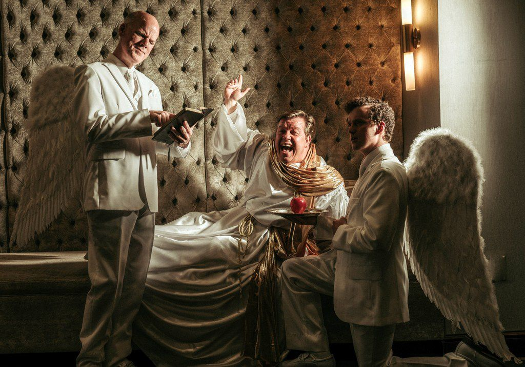 From left: Doug Fowler, B.J. Cleveland and Parker Gray perform in David Javerbaum's An Act of God, presented by Stage West in Fort Worth