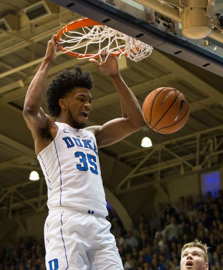 Duke's Marvin Bagley III (35) dunks the ball during the first half of an NCAA college basketball game against Virginia in Durham, N.C., Saturday, Jan. 27, 2018. (AP Photo/Ben McKeown)
