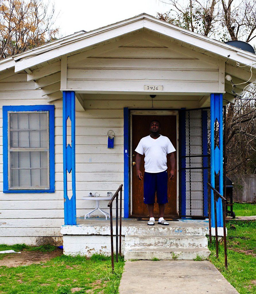 """""""It is what it is, but I like it,"""" says Leon Brown, on the porch of his Bonton shotgun house."""