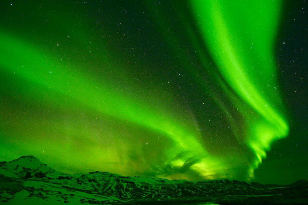In Iceland, the aurora borealis is typically visible from the end of August until the middle of April.