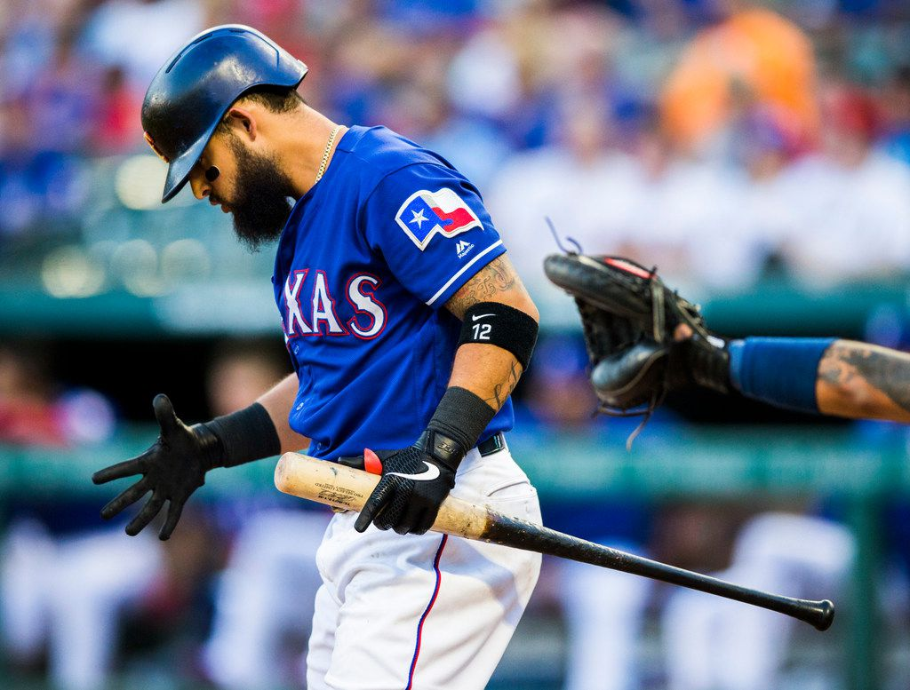 Texas Rangers second baseman Rougned Odor (12) reacts to a strike during the second inning of an MLB game between the Texas Rangers and the Seattle Mariners on Tuesday, May 21, 2019 at Globe Life Park in Arlington. (Ashley Landis/The Dallas Morning News)
