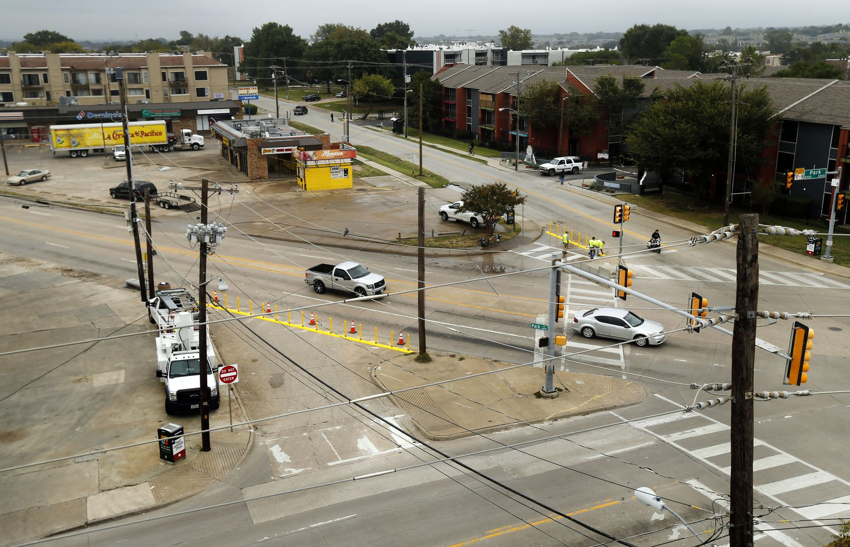 An overhead view of the Five Points street intersection in the Vickery Meadow area of Dallas where Freddie Gilbert worked as a street cocaine dealer. (Tom Fox/The Dallas Morning News)