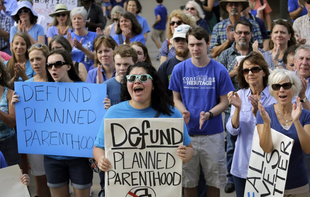 Anti-abortion activists rally on the steps of the Texas Capitol in Austin. (The Associated Press)