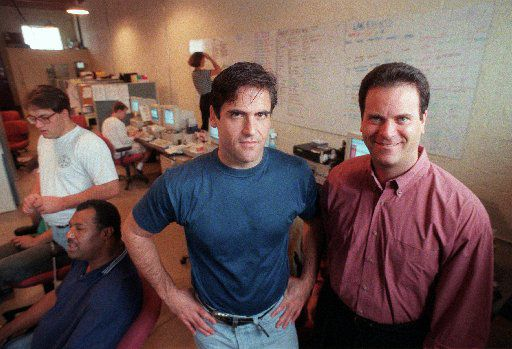 Mark Cuban  and Todd Wagner, shown in the early days of their partnership, sold Broadcast.com to Yahoo in 1999 for $5.7 billion. They're still friends and partners in several entertainment businesses.