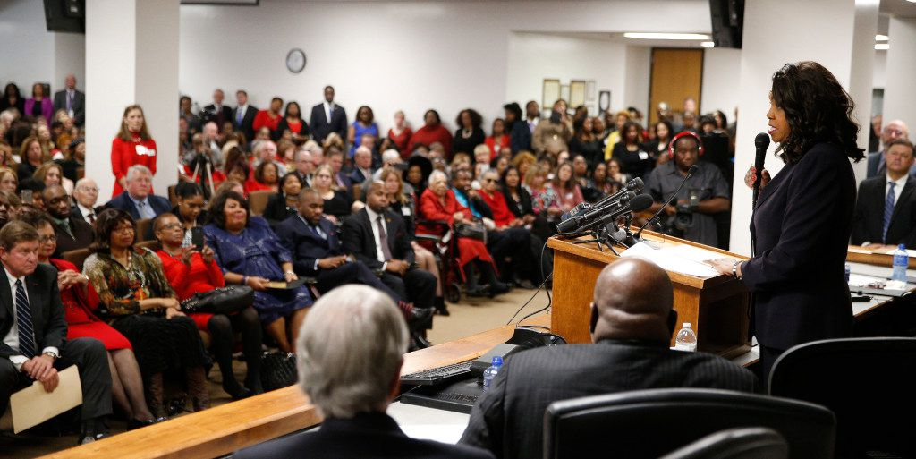 The Honorable Faith Johnson gives a fiery speech after the swearing-in ceremony as Dallas County District Attorney at the Frank Crowley Courts Building in Dallas on January 2, 2017. Mike Snipes (far left on the front row) will be first assistant district attorney. (Nathan Hunsinger/The Dallas Morning News)