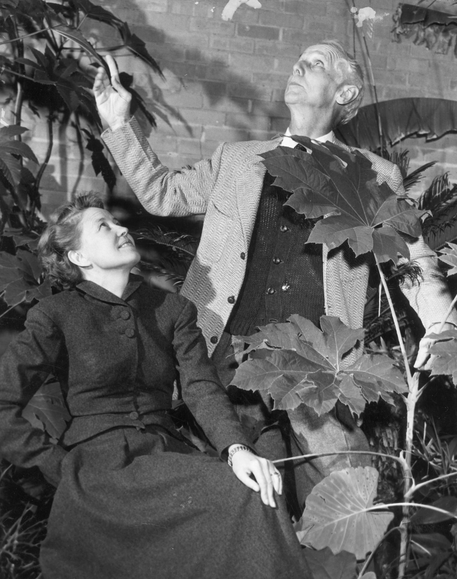 This 1952 photograph of Dominique de Menil (left) and surrealist Max Ernst was taken in the courtyard of the de Menil house in Houston.