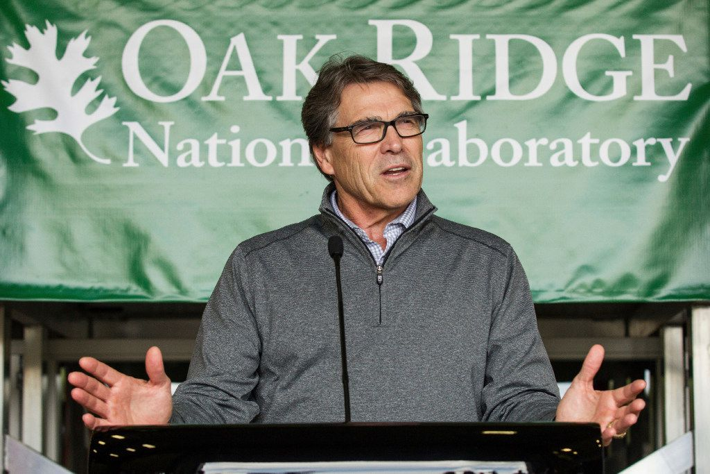 Energy Secretary Rick Perry spoke at Oak Ridge National Laboratory's Manufacturing Demonstration Facility in Knoxville, Tenn. in May. Perry said his goal is to protect jobs and funding for his agency and its research facilities, but he faced questions and criticism for his spending plan on Tuesday.