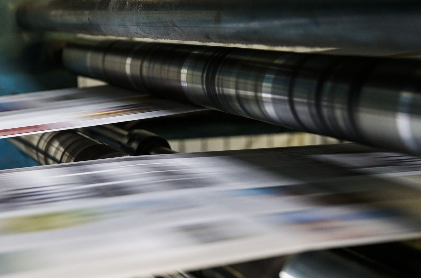 Printing presses roll on Thursday, April 6, 2017 at The Dallas Morning News' North Plant in Plano. (Ashley Landis/The Dallas Morning News)