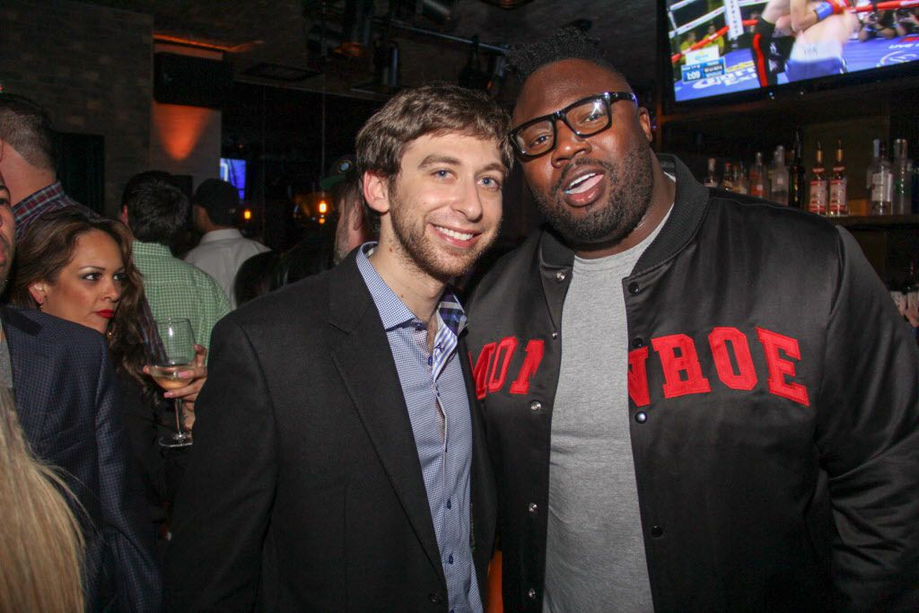Aaron Zack and former NFL player Remi Ayodele attended the Welcome To Dallas  party for new Mavericks addition Amar'e Stoudemire on March 10 at the Grotto Bar at Sfuzzi in Uptown.