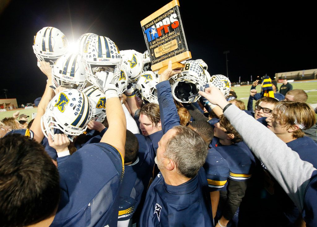 Prestonwood Christian Academy football celebrates after winning the TAPPS Division 1 11-man Championship game Against St. Pius X High School on Saturday, final score 42-41, December 9, 2017 in Hewitt, Texas. Special Contributor Jose Yau