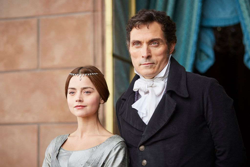 Jenna Coleman as Queen Victoria and Rufus Sewell as Lord Melbourne in Victoria.