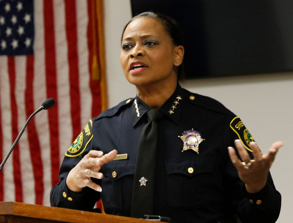 Dallas County Interim Sheriff Marian Brown spoke to her officers after she was sworn in on New Year's Eve.