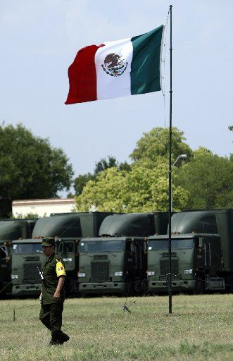 After the convoy of Mexican vehicles pictured above came to help Hurricane Katrina evacuees in San Antonio in 2005, military personnel set up a compound at a former U.S. Air Force base. The convoy was the first Mexican military unit to operate on U.S. soil since 1846.