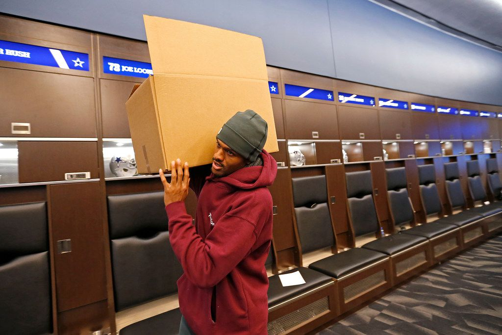 Dallas Cowboys wide receiver Brice Butler carries a box after he cleans out his locker at The Star in Frisco, Texas, Monday, Jan. 1, 2018. The Cowboys finished the season with a 9-7 record and didn't make the playoffs in 2017. (Jae S. Lee/The Dallas Morning News)