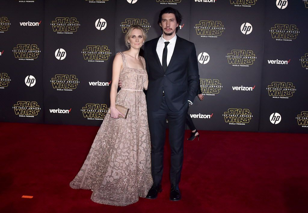 """Joanne Tucker, left, and Adam Driver arrive at the world premiere of """"Star Wars: The Force Awakens"""" at the TCL Chinese Theatre on Monday, Dec. 14, 2015, in Los Angeles."""