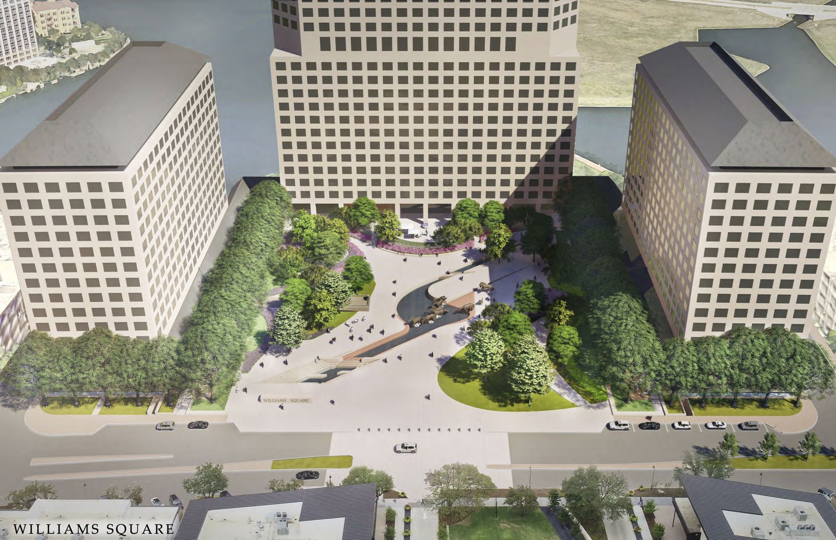 A proposed makeover of the Williams Square plaza would add more trees, grass, plantings and lounge areas for visitors.