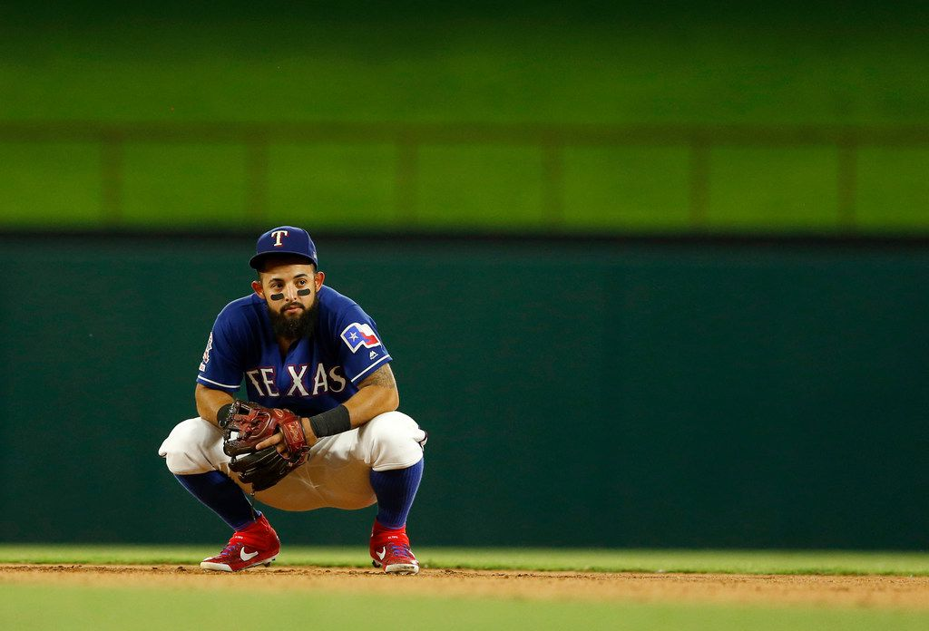 Texas Rangers second baseman Rougned Odor (12) looks toward the dugout during the seventh inning of play in a game against the Los Angeles Angels at Globe Life Park in Arlington, Texas on Tuesday, July 2, 2019. Los Angeles Angels defeated the Texas Rangers 9-4. (Vernon Bryant/The Dallas Morning News)
