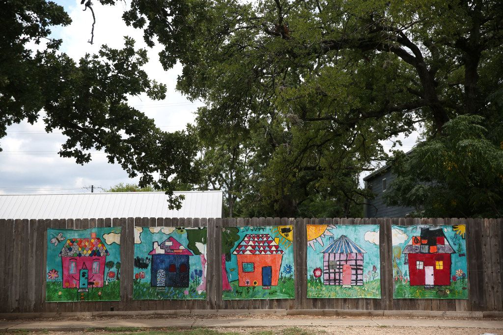 Homes painted by children at Helping Hand Home, a residential foster care facility for children, in Austin, Texas on Tuesday, June 28, 2017.