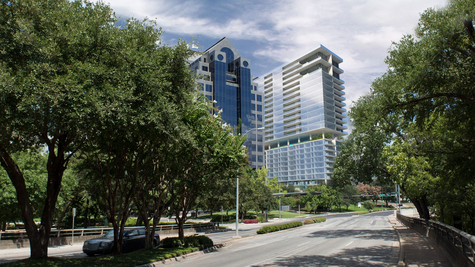 The modern glass and concrete high-rise will include a luxury hotel and condominiums.